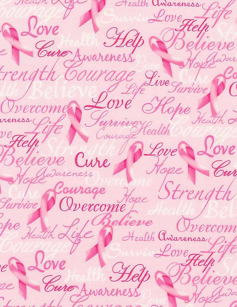 GAIL-C7659 / PINK / BREAST CANCER WORDS PINK RIBBON