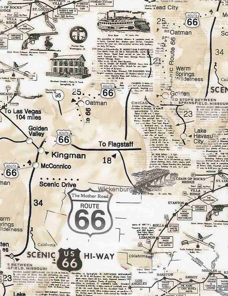 MAP-C7529 / NATURAL / MAP OF ROUTE 66