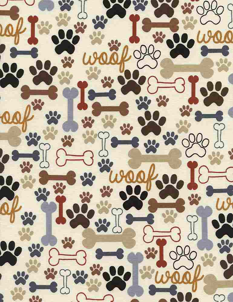 DOG-C2372 / CREAM / BONES & PAWS