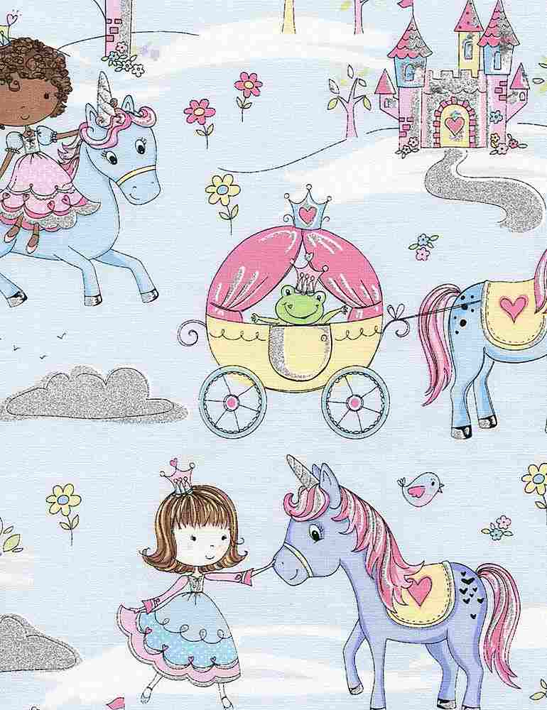 KIDZ-CM3685 / BLUE / PRINCESSES & UNICORNS