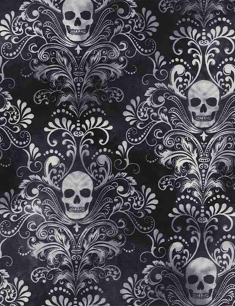 WICKED-C3759 / CHARCOAL / SKULL DAMASK NEGATIVE