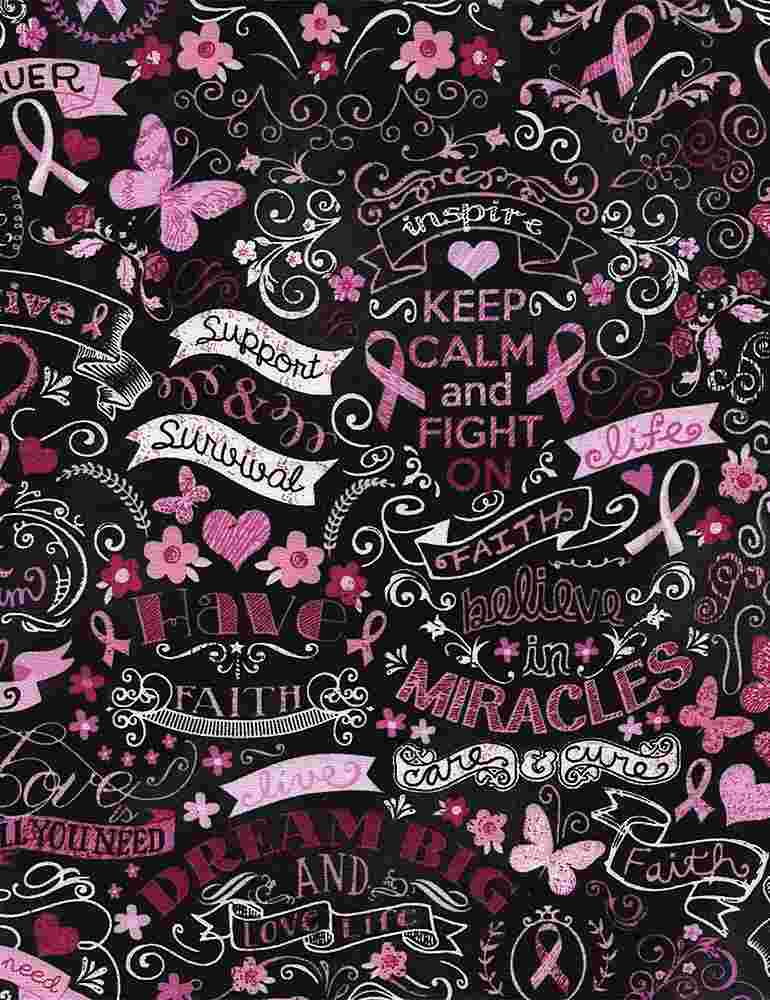 GAIL-C3999 / BLACK / PINK RIBBON CHALKBOARD