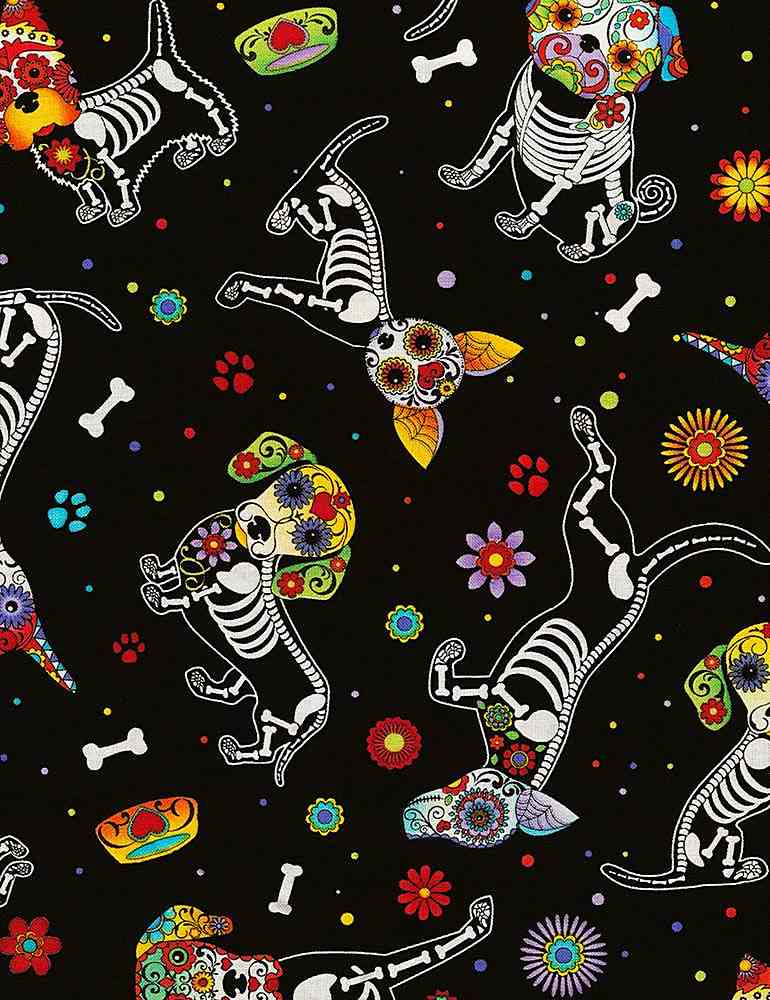 DOG-C4640 / BLACK / DAY OF THE DEAD DOGS