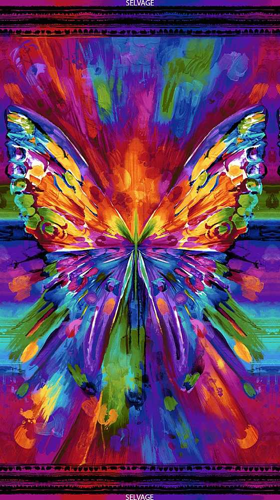 "AWAKEN-CD6550 / BRIGHT / 24"" ABSTRACT BUTTERFLY PANEL"