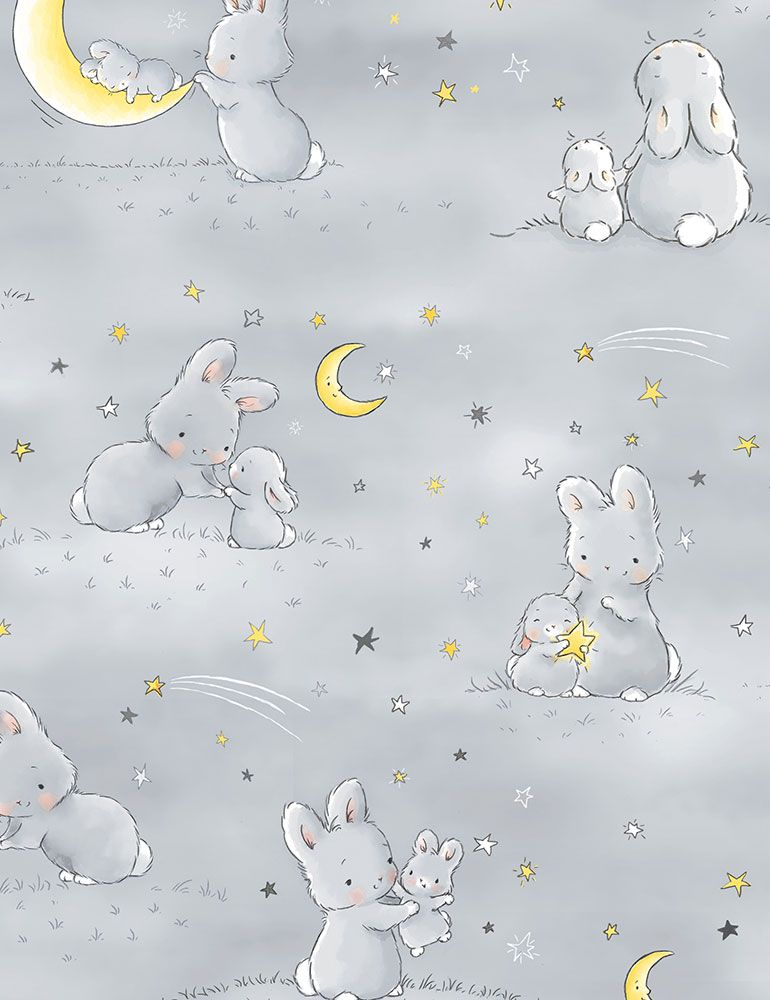 BUNNIES-CF6453 / GREY / BUNNIES AND LITTLE ONES WITH MOONS