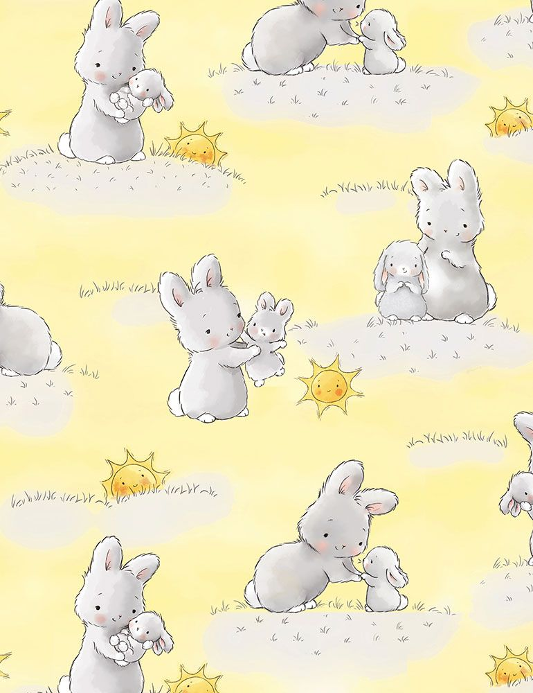BUNNIES-CF6454 / YELLOW / BUNNIES AND LITTLE ONES WITH SUNSHINE