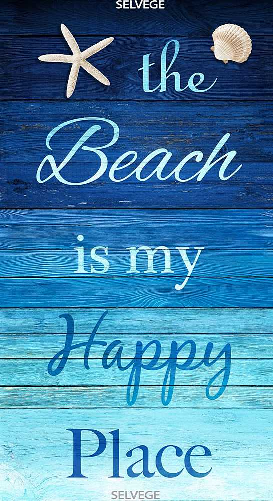 "BEACH-C6742 / TURQ / 24"" BEACH IS MY HAPPY PLACE PANEL"