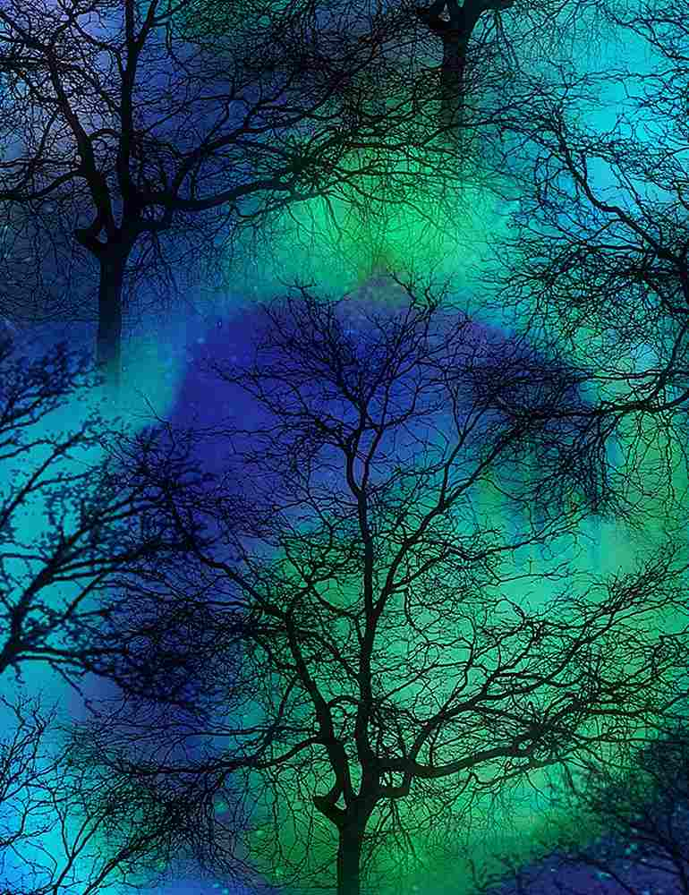 NATURE-C6791 / COBALT / NORTHERN LIGHTS TREES