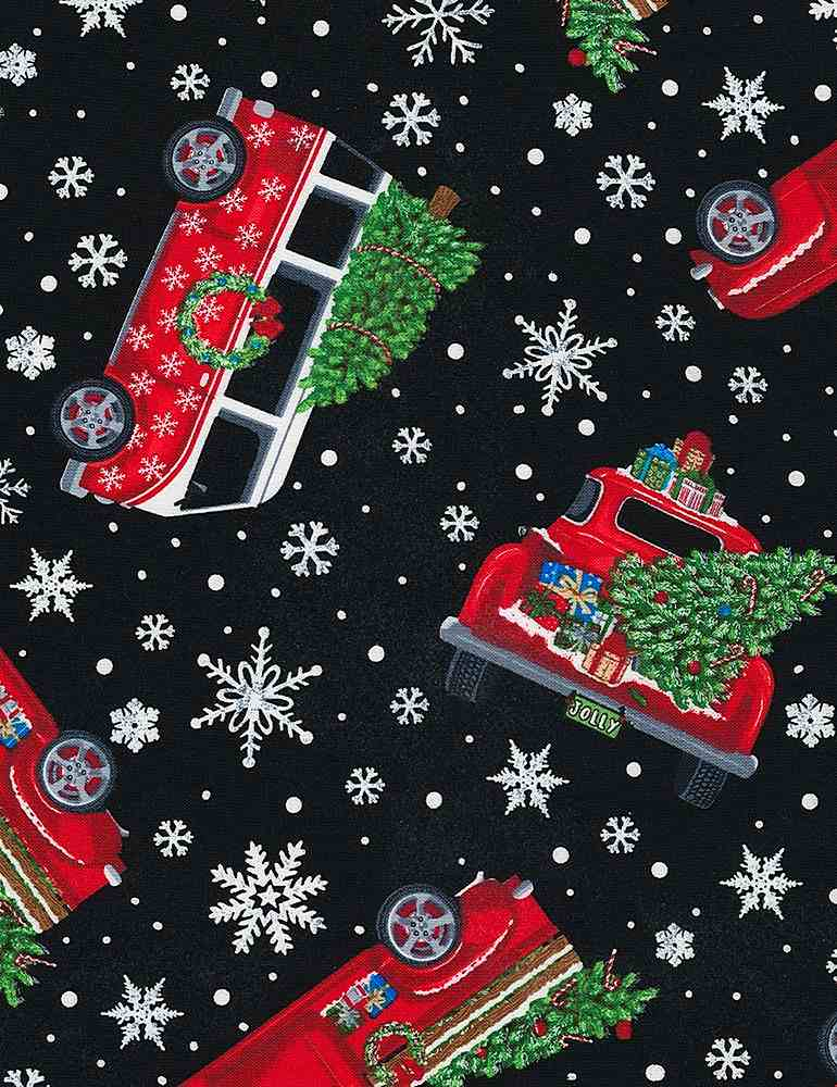GAIL-C6887 / BLACK / TOSSED HOLIDAY CARS WITH TREES