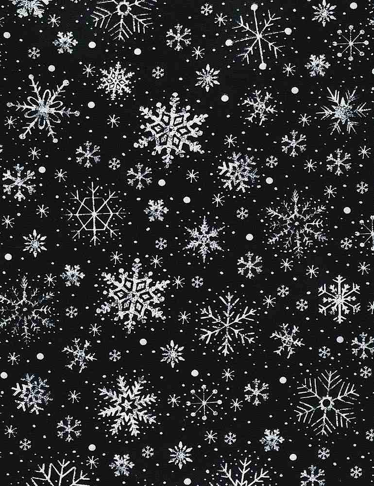 GAIL-C6886 / BLACK / CHALK SNOWFLAKES