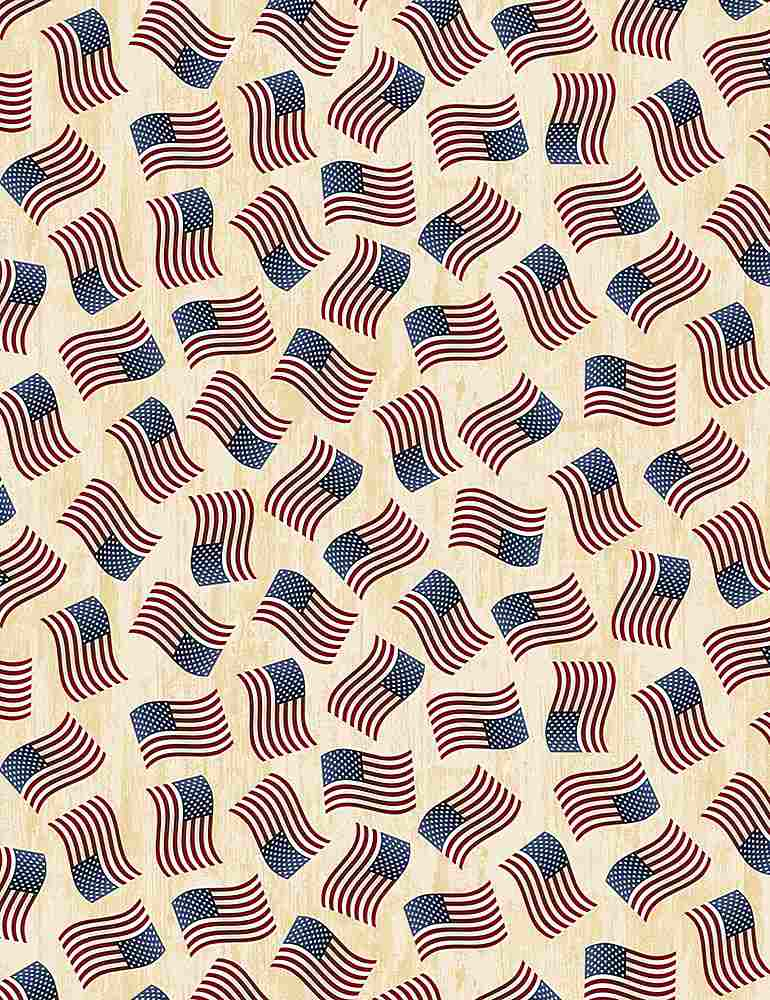 USA-C7048 / CREAM / TOSSED AMERICAN FLAGS
