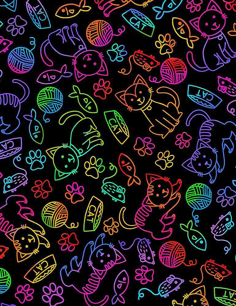 CAT-C7037 / BRIGHT / CAT AND MOUSE RAINBOW OUTLINE
