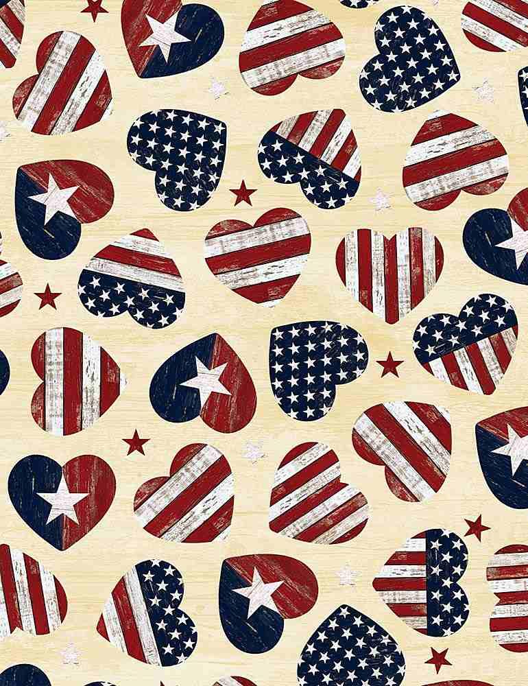 USA-C7046/CREAM / AMERICANFLAGHEARTS