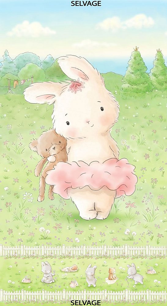 "PANELBB-CF7243 / MULTI / 24"" BUNNY AND HER BEAR PANEL"