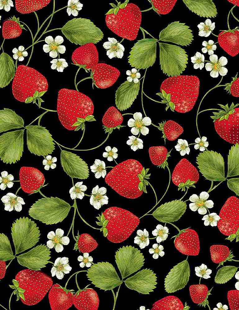 FRUIT-C7346 / BLACK / STRAWBERRY VINES