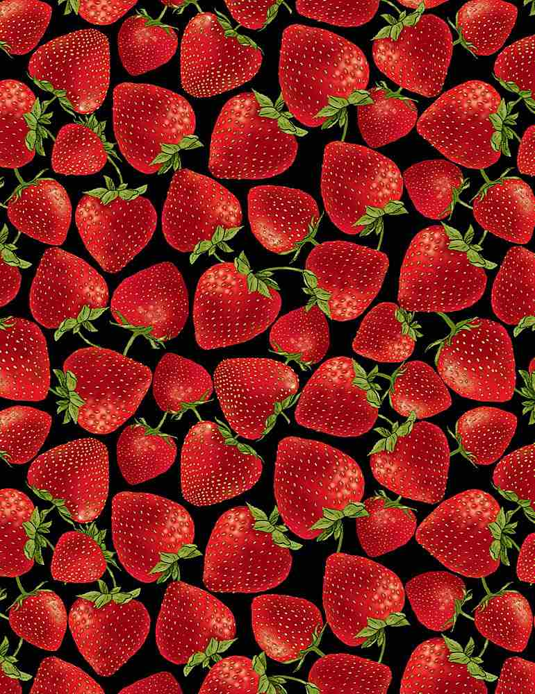 FRUIT-C7347 / BLACK / TOSSED STRAWBERRIES