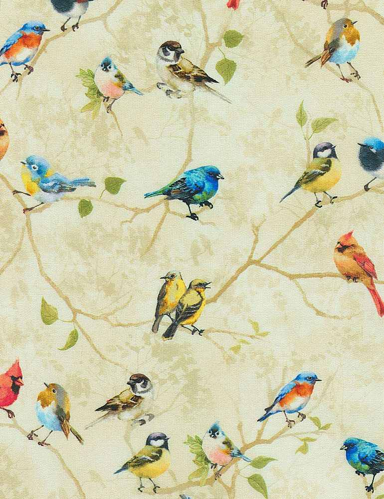 NATURE-CD7409 / TAUPE / PAINTED BIRDS PERCHED