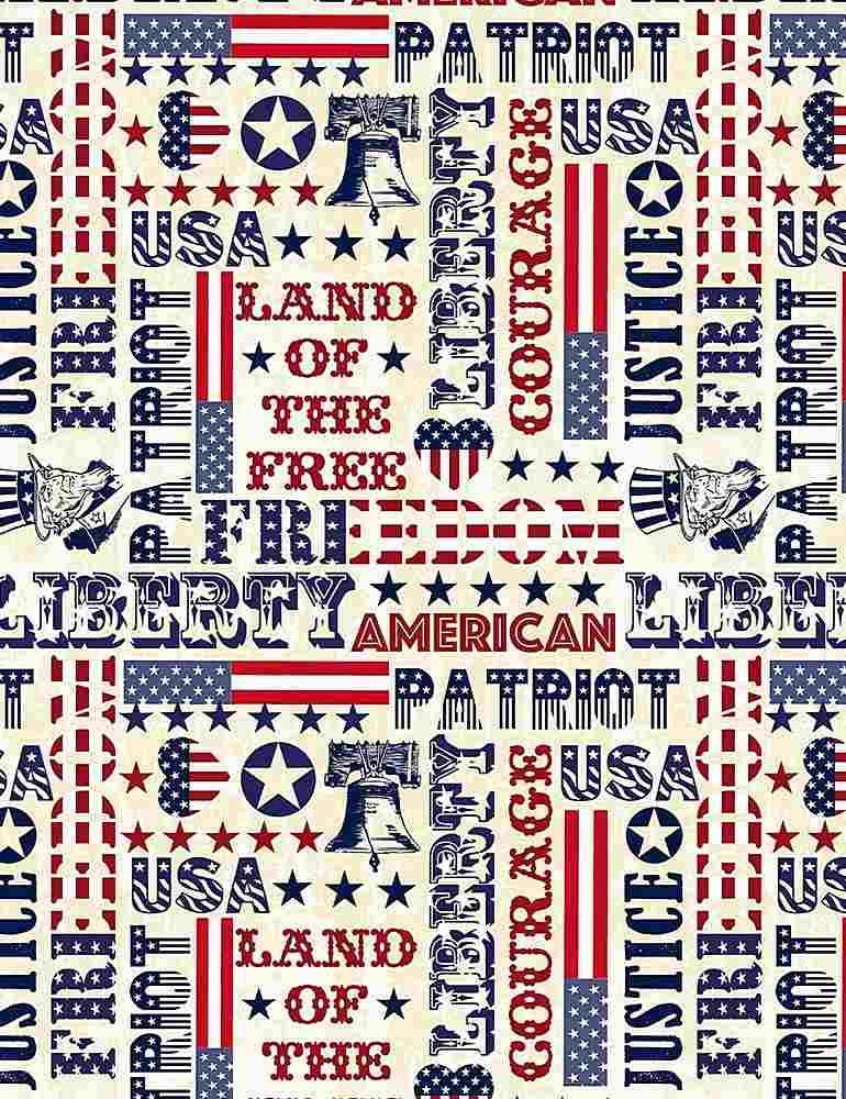 USA-C7449 / CREAM / PATRIOTIC TYPOGRAPHY