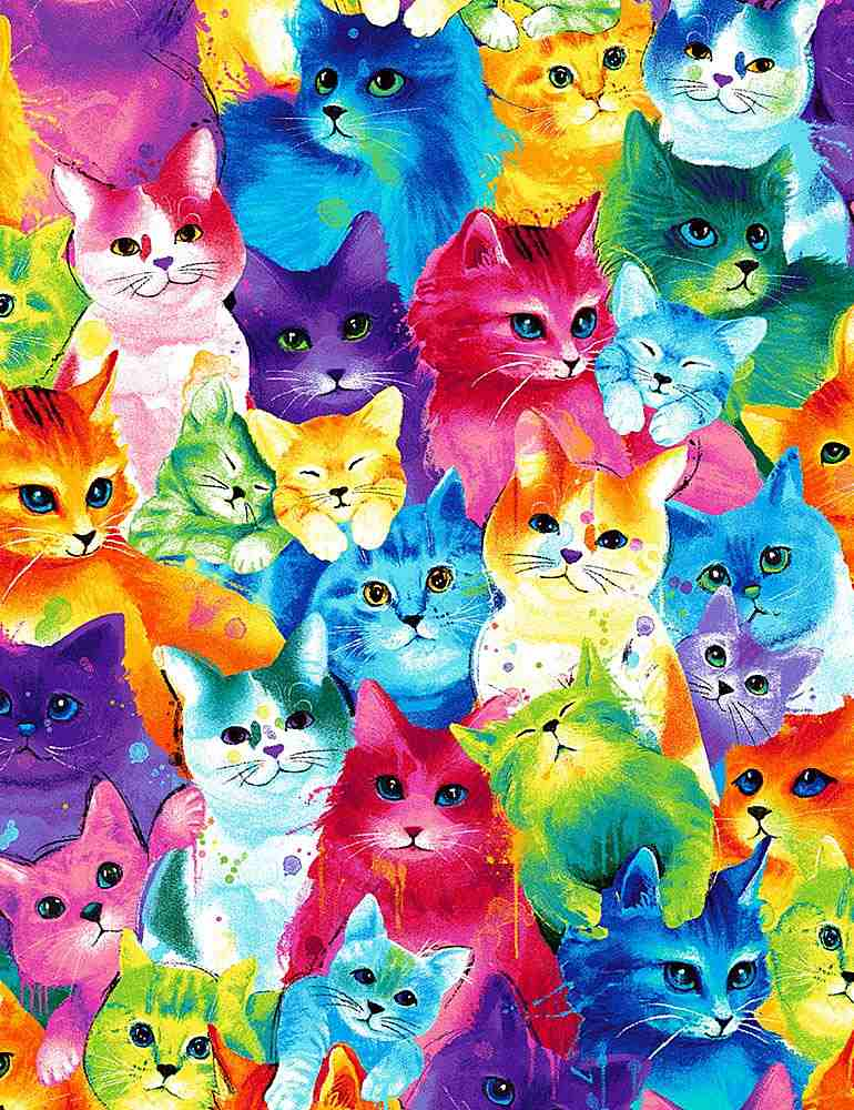 CAT-C7485 / MULTI / PAINTED BRIGHT CATS