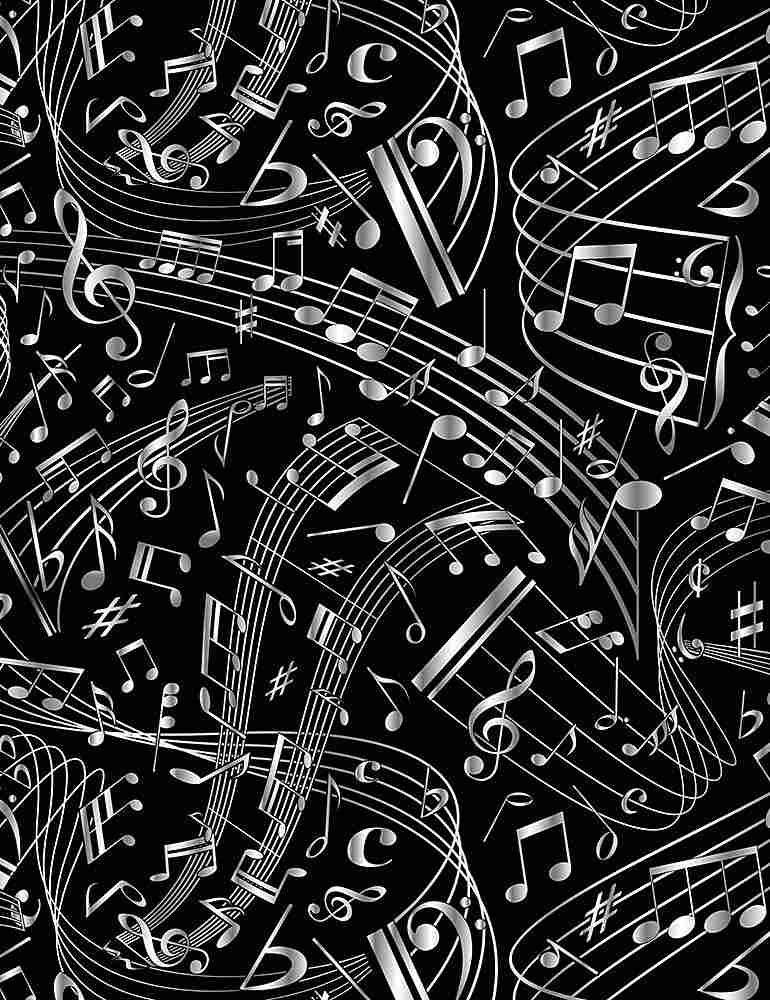 MUSIC-C7587 / BLACK / SWIRLING MUSIC NOTES