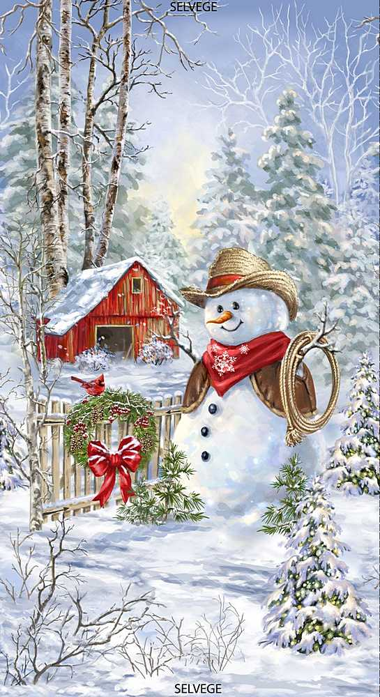 "PANELDG-C7591 / MULTI / 24"" SADDLE UP SNOWMAN PANEL"