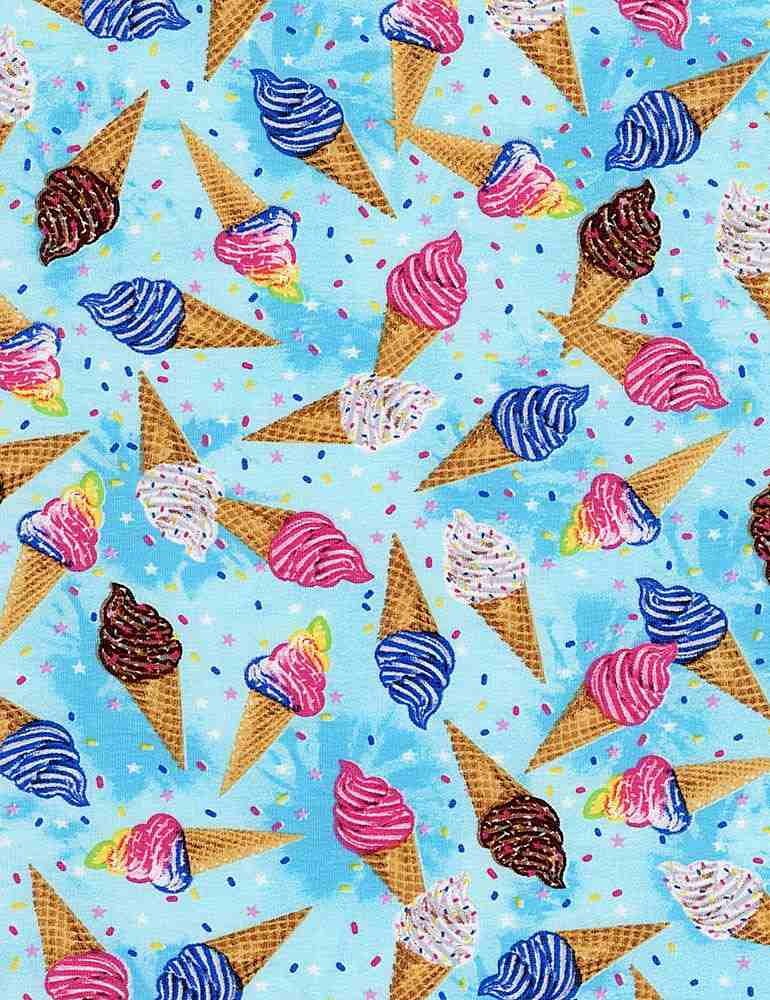 WKNIT-CS7690 / BLUE / MINI COLORFUL ICE CREAM CONES