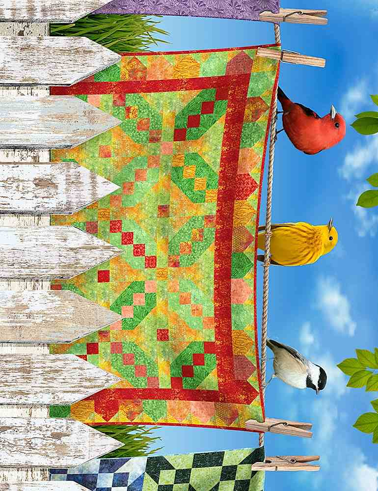"BIRD-CD7702 / MULTI / BIRDS ON QUILTS 11"" STRIPE"