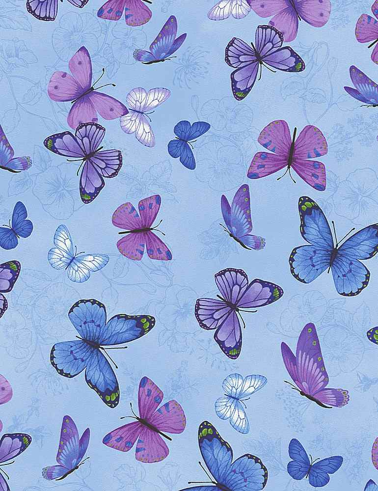 BUTTERFLY-C7725 / BLUE / BUTTERFLIES ON ETCHED PANSIES