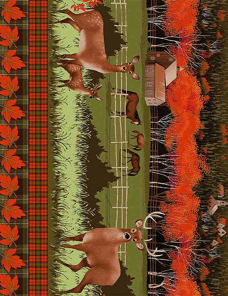 "NATURE-C7645 / MULTI / DEER GRAZING ON FARM 11"" STRIPE"