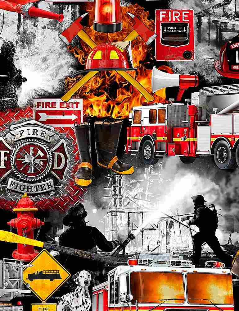 FIRE-C7731 / BLACK / FIREFIGHTER PATCHWORK