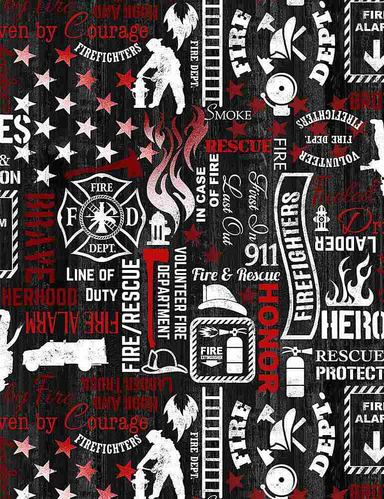 FIRE-C7732 / BLACK / FIREFIGHTER WORDS