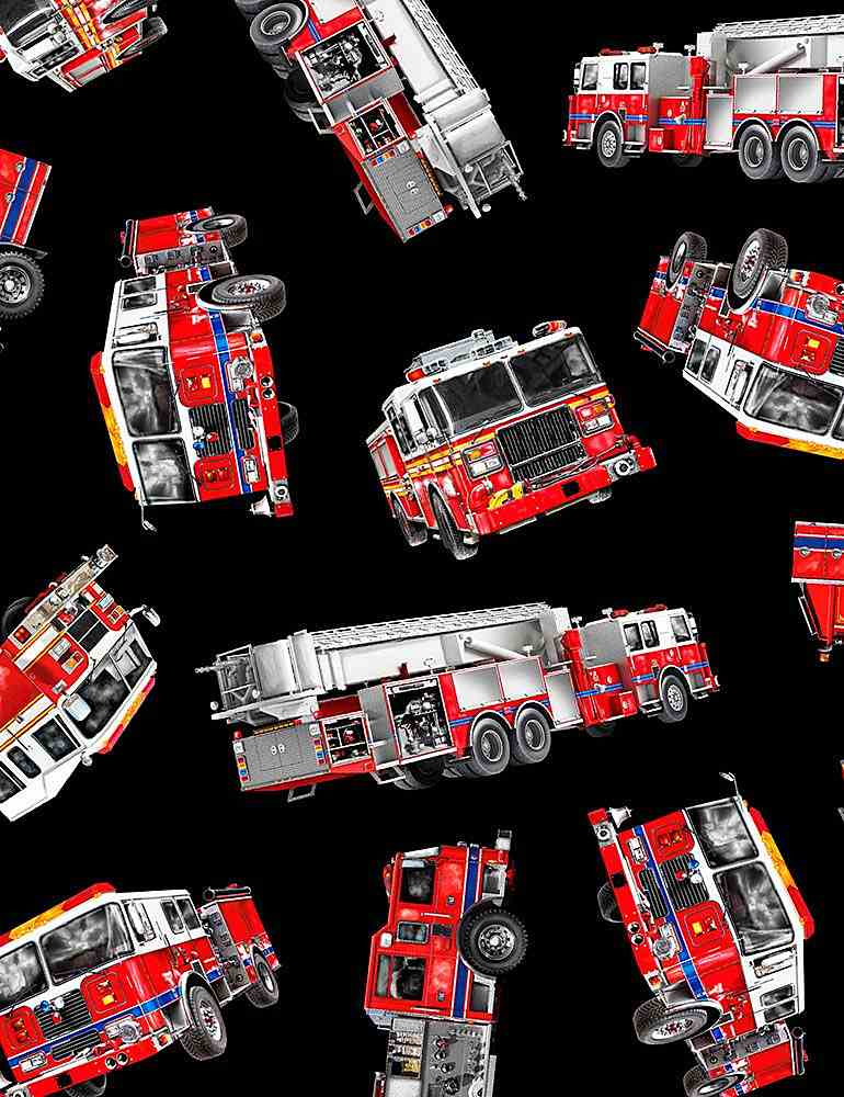 FIRE-C7733 / BLACK / TOSSED FIRE TRUCKS