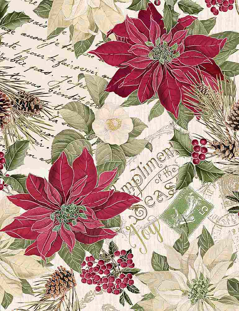 HOLIDAY-CM7755 / CREAM / METALLIC POINSETTAS ON TEXT
