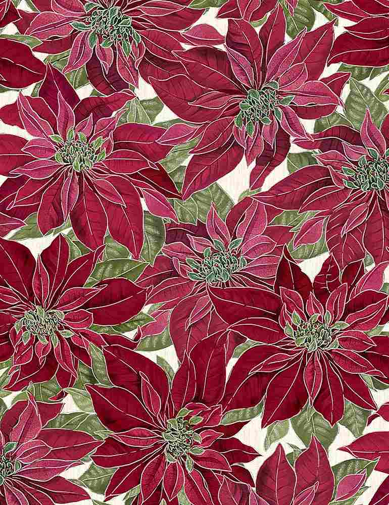 HOLIDAY-CM7756/RED / METALLICREDPOINSETTAS