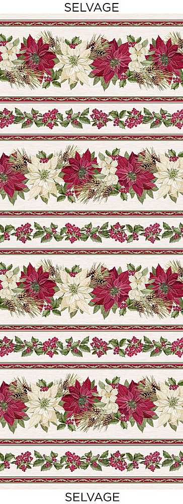 "HOLIDAY-CM7758 / CREAM / METALLIC POINSETTA NOEL 11"" STRIPE"