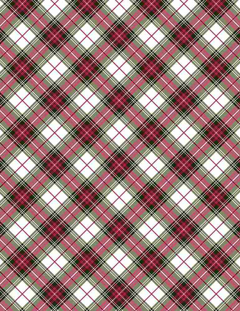 PLAID-CM7763 / RED / METALLIC HOLIDAY BIAS PLAID