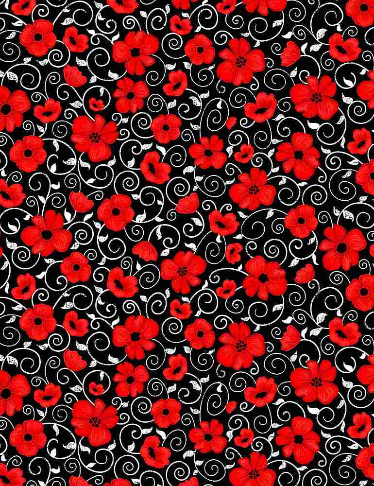 GAIL-C7742 / BLACK / POPPY TWIRLS