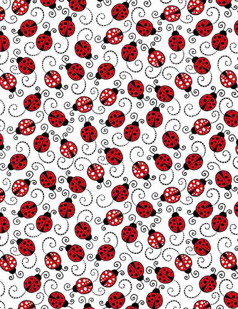 GAIL-C7744 / WHITE / LITTLE RED LADYBUGS