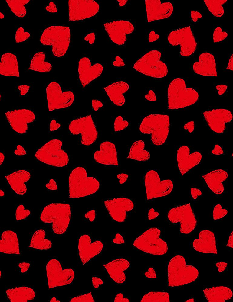 GAIL-C7745 / BLACK / RED CHALK HEARTS