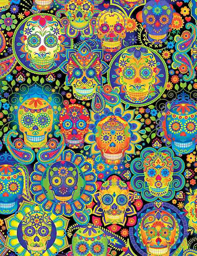FUN-C7378 / MULTI / BRIGHT SUGAR SKULLS