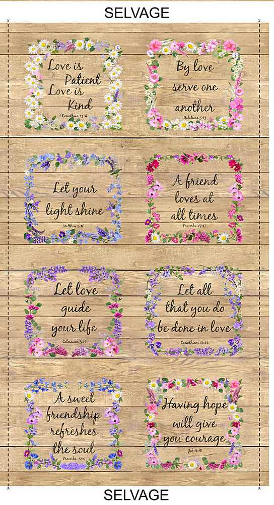 PANEL-C7565 / MULTI / FLORAL PROVERBS on WOOD PANEL