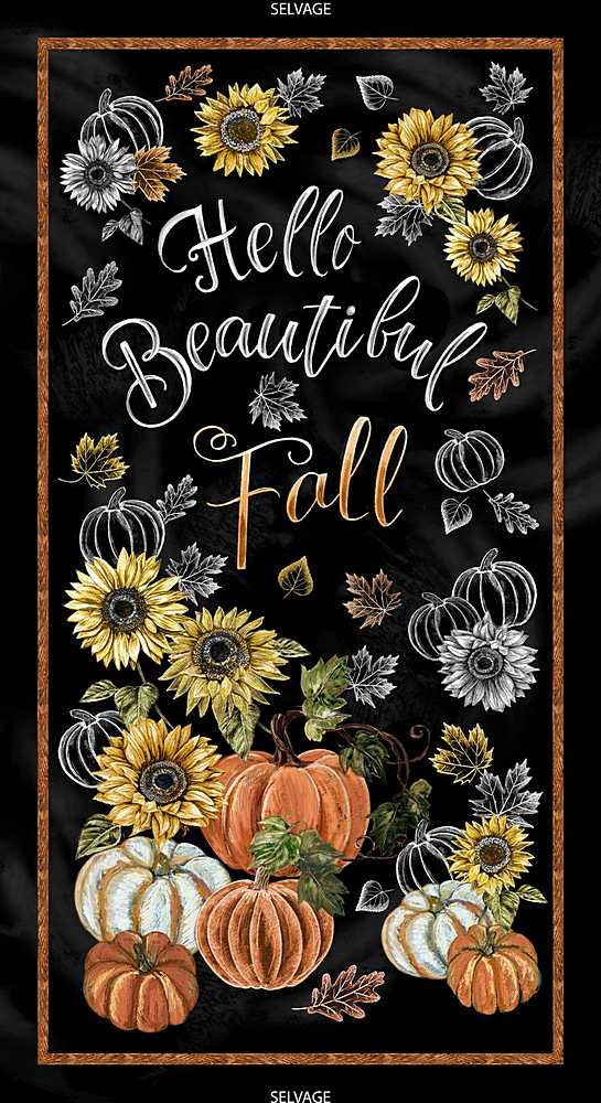 "PANEL-C7795 / BLACK / 24"" HELLO BEAUTIFUL FALL PANEL"