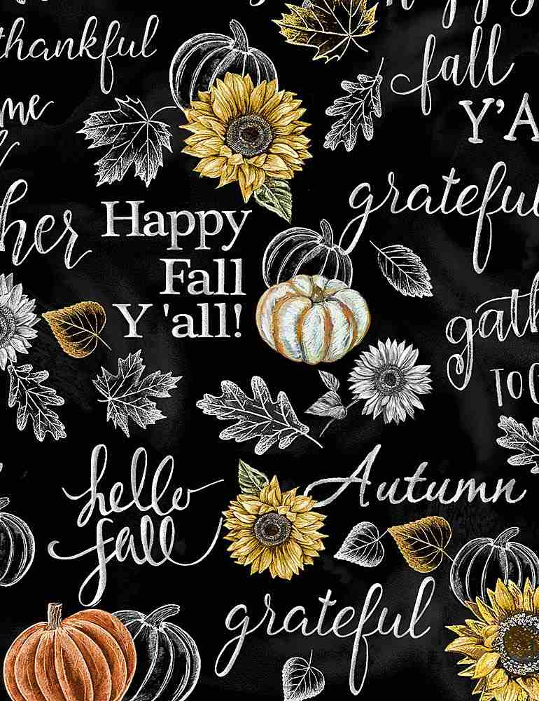 HARVEST-C7796 / BLACK / HAPPY FALL Y'ALL CHALK WORDS