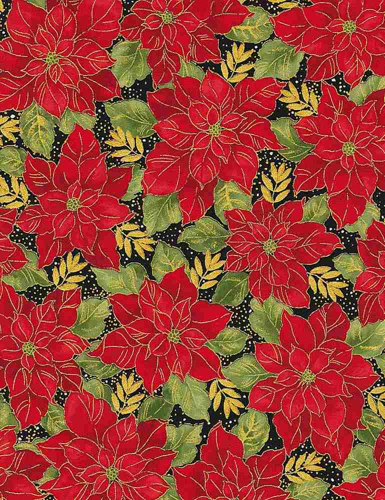 HOLIDAY-CM7804 / BLACK / RED METALLIC POINSETTAS