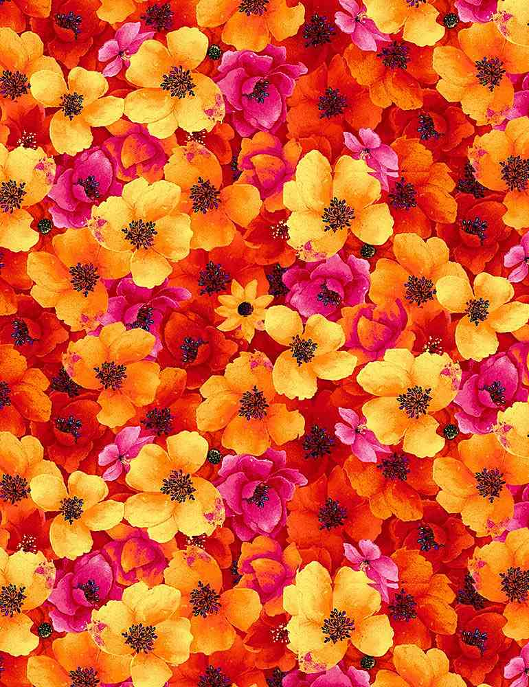 FLEUR-C7810 / ORANGE / PACKED NIGHT BLOOM FLORALS