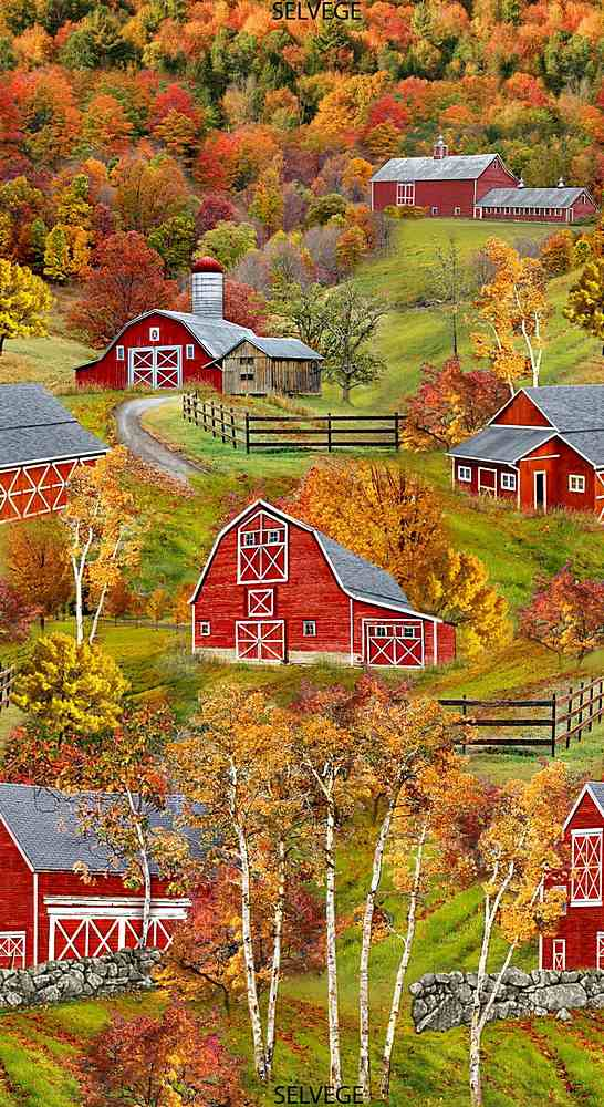 "PANEL-C7814 / MULTI / 24"" RED BARNS PANEL"