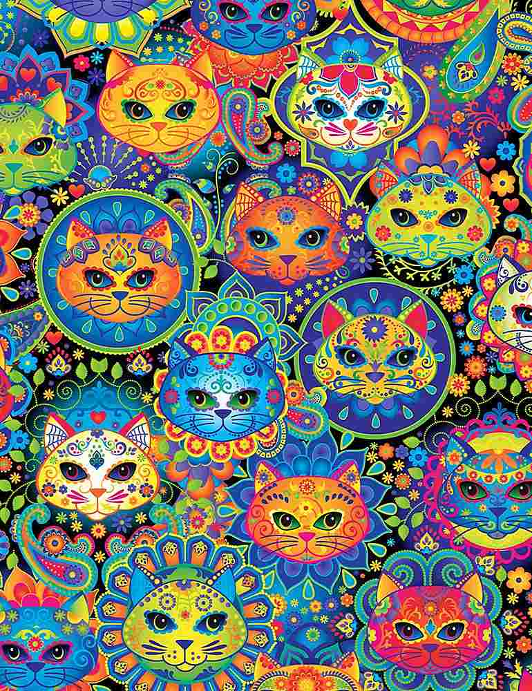 CAT-C7817 / MULTI / BRIGHT CAT SUGAR SKULLS