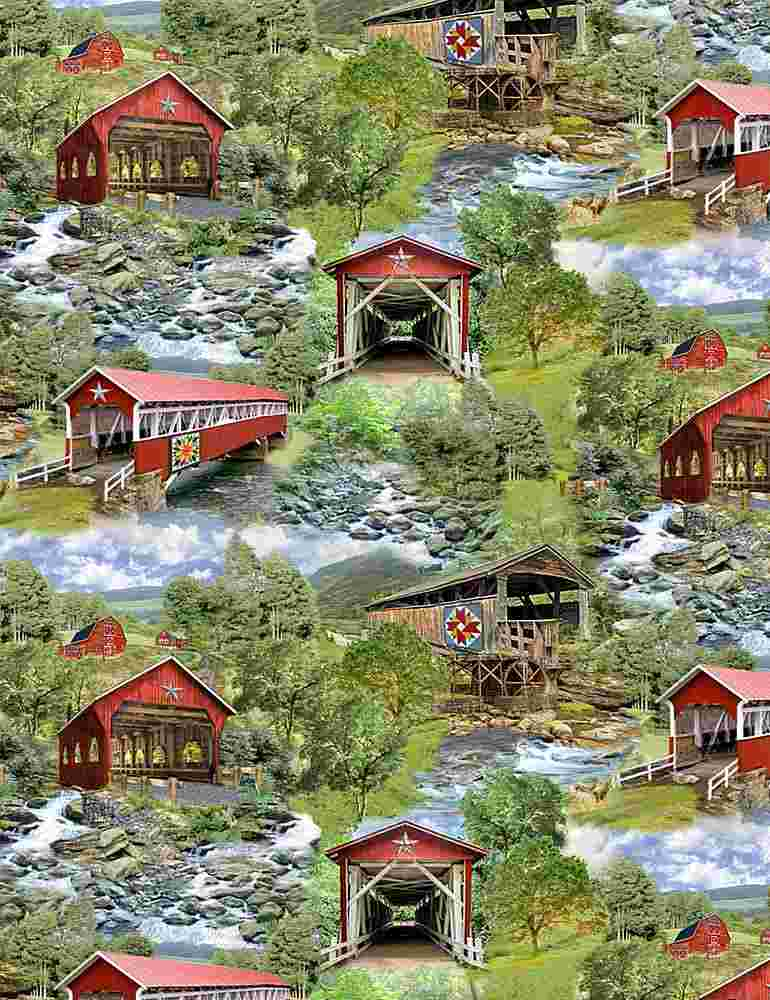 NATURE-C7819 / MULTI / ALL OVER RED COVERED BRIDGES