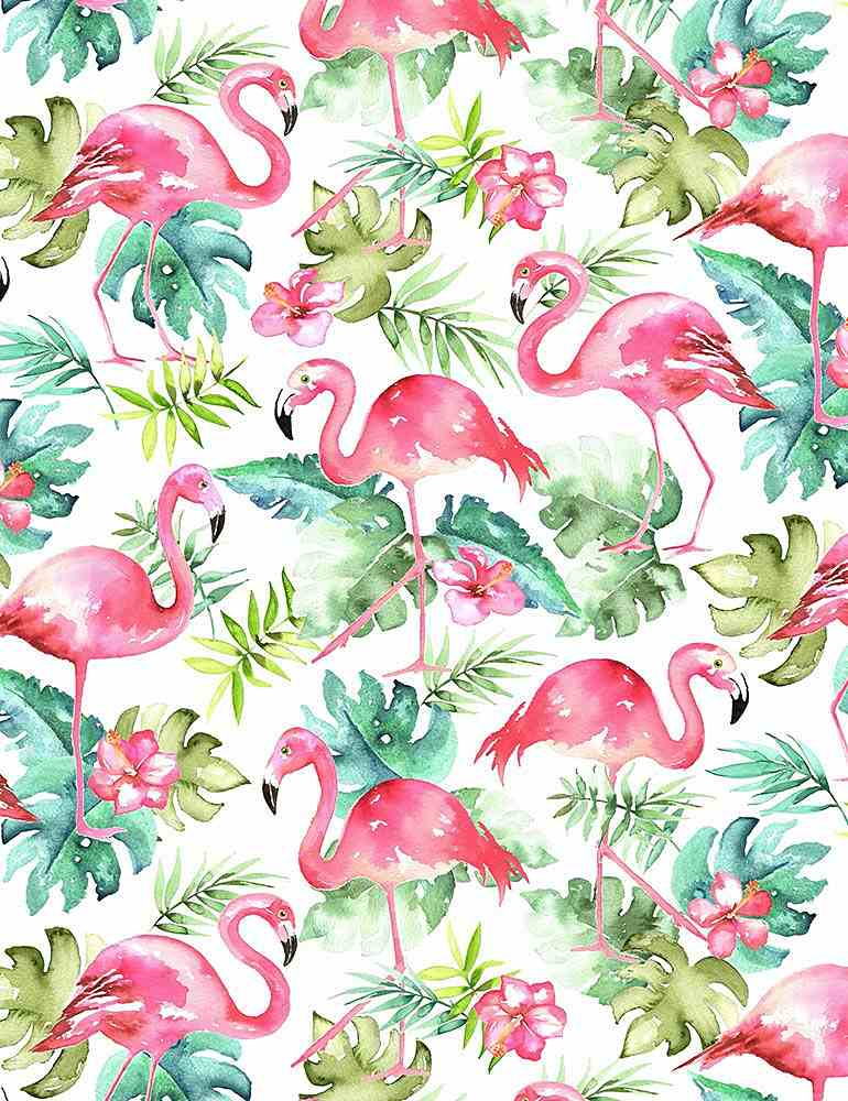 FUN-C7822 / WHITE / WATERCOLOR FLAMINGOS