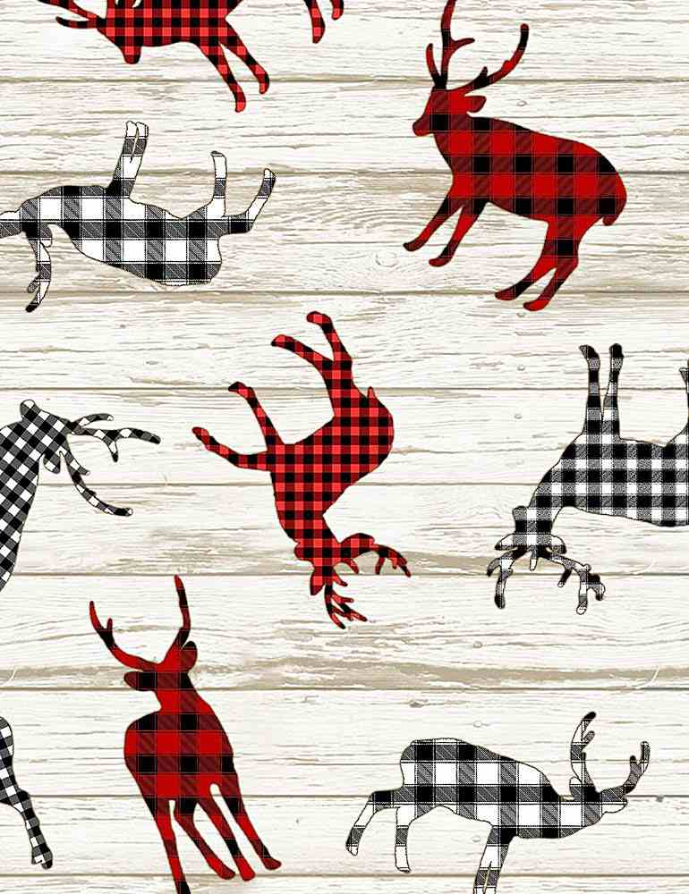 HOLIDAY-C7827 / MULTI / BUFFALO PLAID DEER DECALS